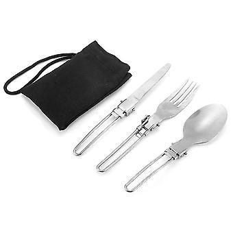 3 pcs Portable Camping Extérieur Voyage Pique-nique Pliable En Acier Inoxydable Couverts Set Spoon Fourche Couteau