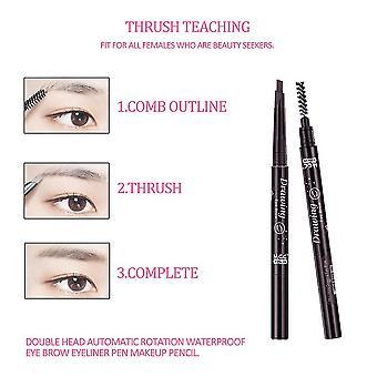 Double Head Automatic Rotation Waterproof Eye Brow Eyeliner Pen Makeup Pencil