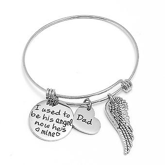I Used To Be His Angel Now He Is Mlne Lettering Round Tag Wing Pendant Bracelet