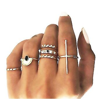 5pcs Ring Stackable Gold Set Flower Cross Fashion Hand Jewelry For Women And Girls(Type1)