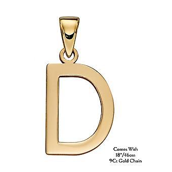 """HS Johnson HSJ-GP2203 Women's 9ct Gold """"D"""" Pendant With Chain"""