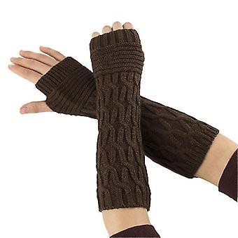 (Braun) Frauen Thermal Soft Fäustlinge Armwärmer Geschützte fingerlose lange gestrickte Handschuhe
