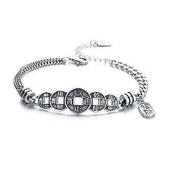 H41 S925 Sterling Silver Ladies Retro Copper Coin Bracelet Simple And Versatile Fashion Jewelry