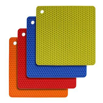 4pcs Food Grade Silicone Square Placemat Honeycomb Mat