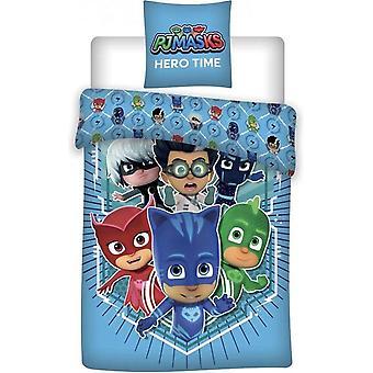 PJマスクパジャマヒーローヒーロータイムデュベットカバーベッドセット140x200 + 70x90cm