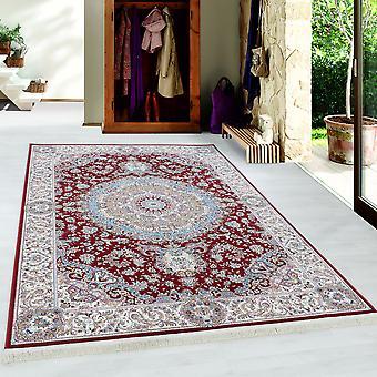Teppich Orient Medaillon Muster Kurzflor Rot