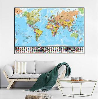 90 *60cm Verdenskortet med nationale flag Lærred Maleri plakater og prints