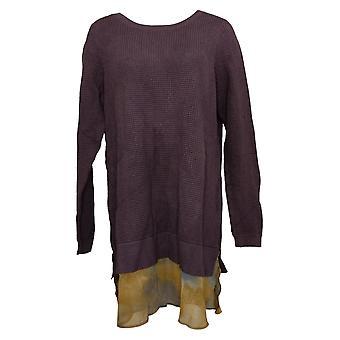 LOGO by Lori Goldstein Women's Sweater Cotton Waffle Purple A267903
