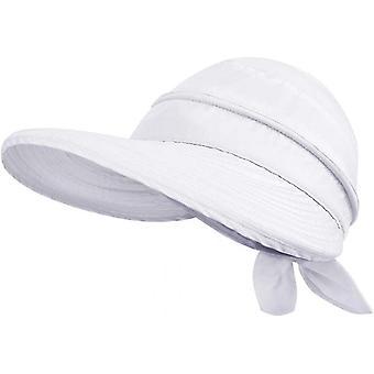 Enkelhed Hatte Upf 50 + Uv Sun Beskyttende Cabriolet Beach Visir Hat (Hvid)