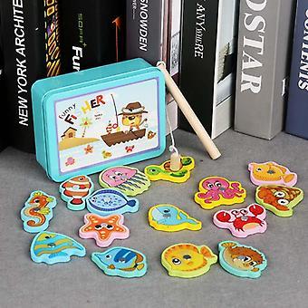 Baby Educational Toy Iron Box Fishing Wooden Game Set Novelty Toys Gifts|Fishing Toys