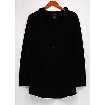 Cuddl Duds Sweater Comfortwear Snap Closure Cardigan Black