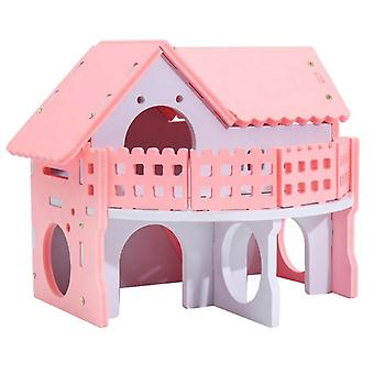 Hamster Small Animal House Travel Wood Villa Two-story Castle Small Animal Toy Pink