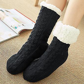 Naisten Talvi fleece lattia sukat kaapeli paksu anti slip lämpö