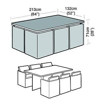6 Seater Rectangular Cube Set Cover Garden Furniture Polyethylene Green