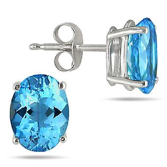 6x4mm Oval Blue Topaz Studs Made in 14K White Gold