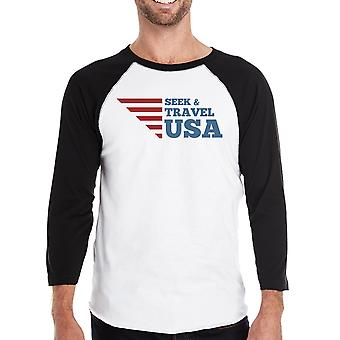 Zoeken & reizen USA Mens Black honkbal Tee 3/4 mouw ronde hals