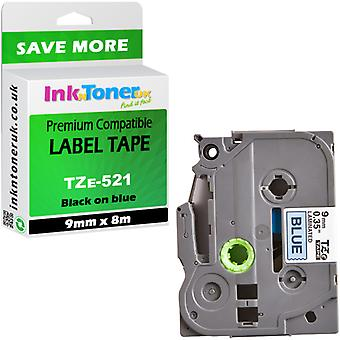 Etiquetas compatíveis do irmão TZe-521 preto no azul 9mmx8m para PT-1010