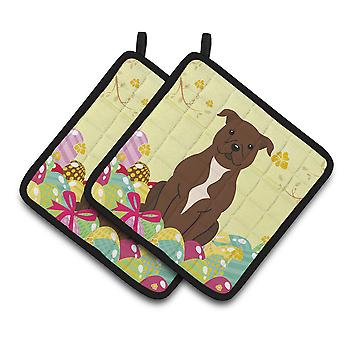 Easter Eggs Staffordshire Bull Terrier Chocolate Pair of Pot Holders