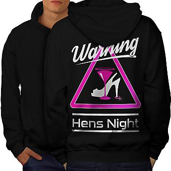 Warning Night Men BlackHoodie Back | Wellcoda