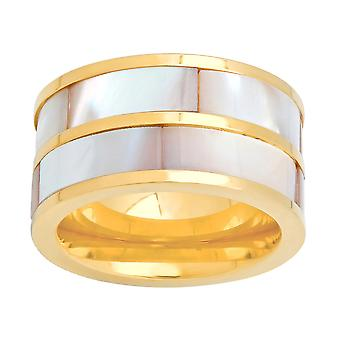 Ladies 18K Gold Plated Stainless Steel Mother Of Pearl Ring