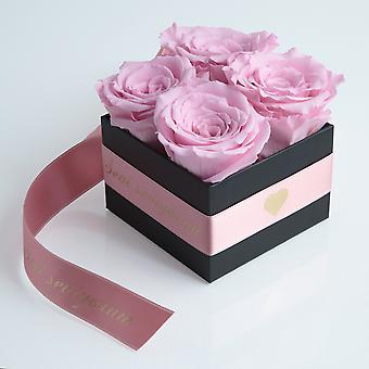 Rose pink and satin ribbon preserved Seni Seviyorum box with 4 shelf life 3 years