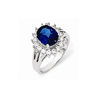 925 Sterling Silver CZ Cubic Zirconia Simulated Diamond Synthetic Blue Spinel Ring Jewelry Gifts for Women - Ring Size: