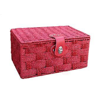 Pequeño rojo cuerda cesto papelera