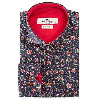 كلاوديو لوجلي الأحمر زهرة طباعة قميص للرجال