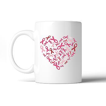 الشريط الوردي القلب الثدي السرطان القدح القدح القهوة السيراميك الأبيض الهدايا