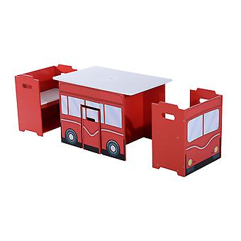 HOMCOM HOMCOM Wooden B 3PC Kids Table and Chairs Set Mutifunctional Bench Seat Children Book Case Toy Storage Shelves Bus Appearence Red