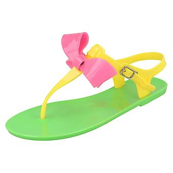 Girls Spot On Flat Buckle Up Toepost Sandals with Bow