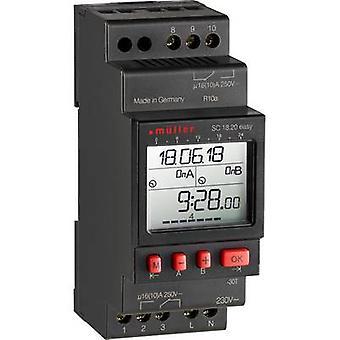 Müller SC 18.20 lett NFC DIN rail mount timer 230 V 16 A/250 V