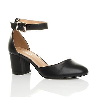 Ajvani womens lage midden blok hiel enkel riem mary jane Hof schoenen sandalen
