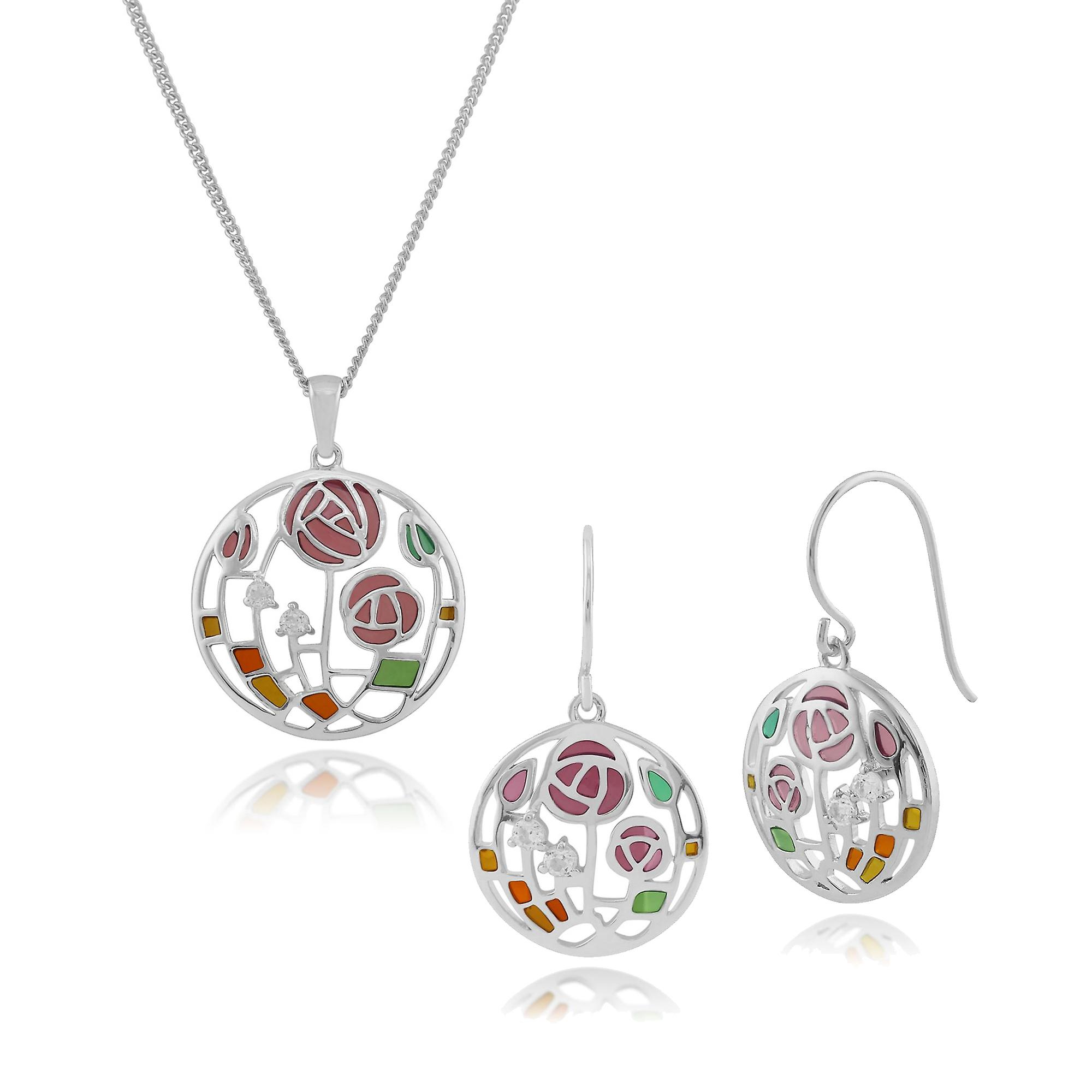 Sterling Silver Topaz Rennie Mackintosh Style Drop Earring & 45cm Necklace Set