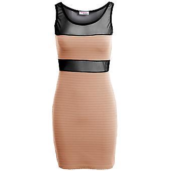 Nowe siateczki panie kobiety kontraście Bodycon sukienka w prążek