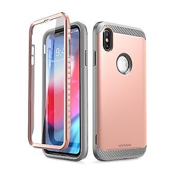 iPhone Xs Max asia [UB uus sarja] koko kehon suojaava sisäänrakennettu näyttö suojelija Dual Layer kattaa 2018 (RoseGold)