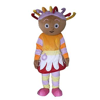 mascot SPOTSOUND of African girl in colorful dress, with dreads
