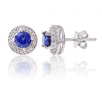 Star Wedding Rings Sterling Silver Earring Set With Sapphire Gem Stone And Diamonds