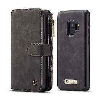CASEME Samsung Galaxy S9 Retro leather wallet Case-Black