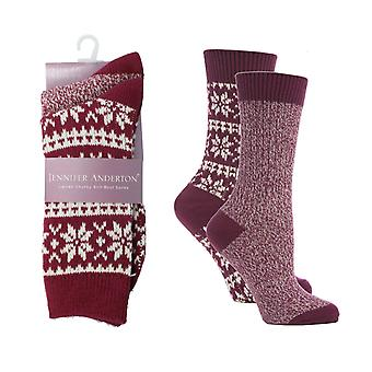 Ladies Jennifer Anderton Chunky Knit Boot Socks Pack of 2
