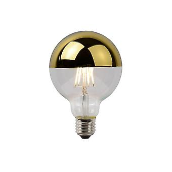 Lucide LED Bulb Vintage Globe Glass Transparant And Gold Filament Bulb
