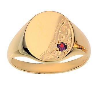 9ct Gold 5x15mm solid hand engraved garnet set oval Signet Ring Size Z