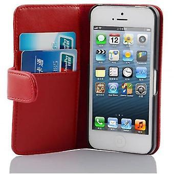 Funda Cadorabo para Apple iPhone 5 / iPhone 5S / iPhone SE Case Cover - Funda de teléfono en piel sintética lisa con función de soporte y estuche de tarjeta - Funda de funda de funda de caso De nlegado estilo plegable estilo plegable