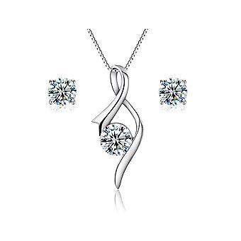 925 Sterling Zilver eenvoudige vlam ontwerpset Aaaaa Cubic Zirconia sieraden