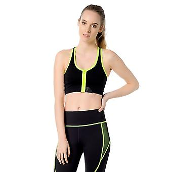 Jerf- Womens-santos - Black And Yellow - Sport Bra With Zip