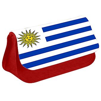 Uruguay Flag Printed Design Pencil Case for Stationary/Cosmetic - 0189 (Red) by i-Tronixs