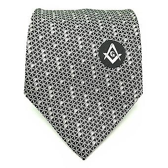 Masonic Regalia Black White Freemasons Tie