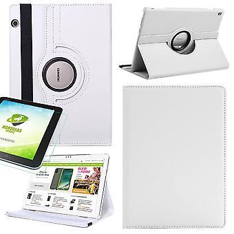 Huawei MediaPad M5 Lite 10,1 tuumaa 360 astetta hiha kansi tasku valkoinen nahka nahka kotelo uusi + 0.3 mm kova lasi