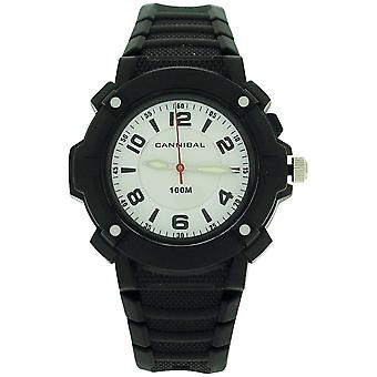 Cannibal Active Boys White Dial Luminous Hand Black Plastic Strap Watch CJ242-03