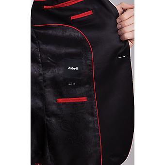 Dobell hombres rojo Tartan esmoquin chaqueta Slim Fit contraste pico solapa